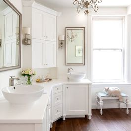 Houzz - done in reverse would work in bathroom