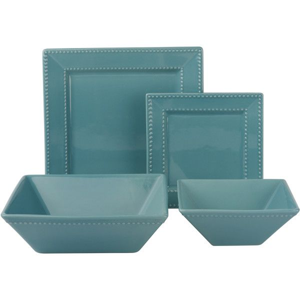 10 Strawberry Street Vivo Teal Beaded Square 19-piece Dinner Set (Porcelain featuring polyvore, home, kitchen & dining, dinnerware, square porcelain dinnerware, casual dinnerware, porcelain dinnerware sets, porcelain dinner plates and square dinner plates
