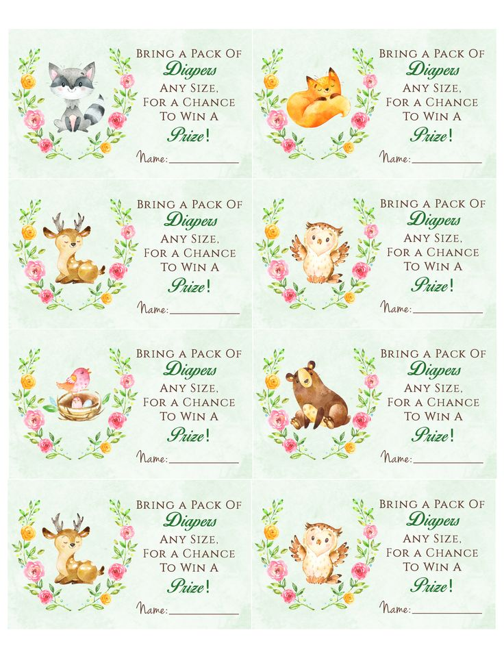 Woodland Animal Baby Shower Diaper Raffle Free Printable -7886