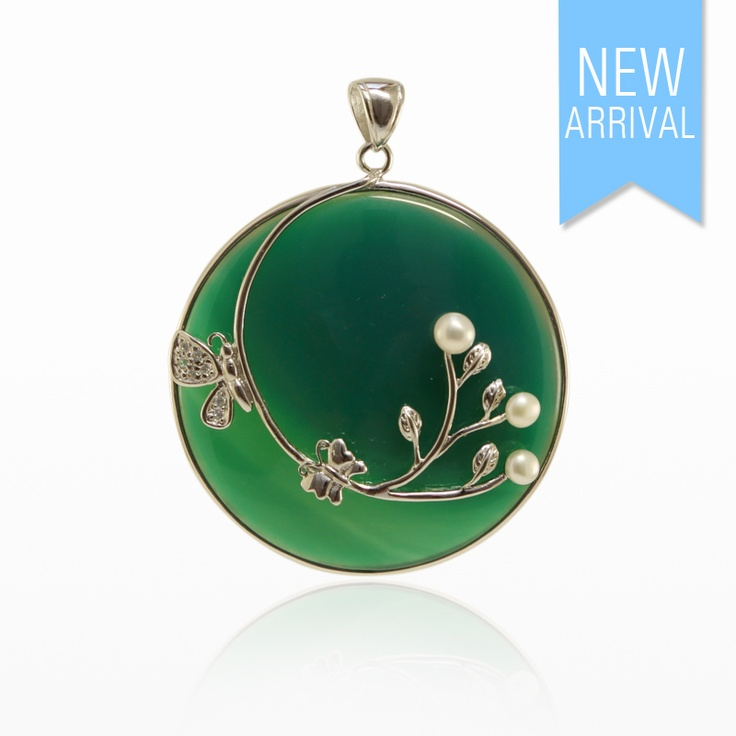 Pendant Green Agate Cabouchon,Pearl and CZ with Silver #Pendant #NewArrivals #GinaAdornments