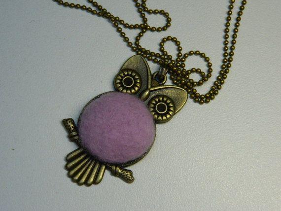 Lilac Fluffy Fabric Button Owl Pendant by LittleRubyAtom on Etsy