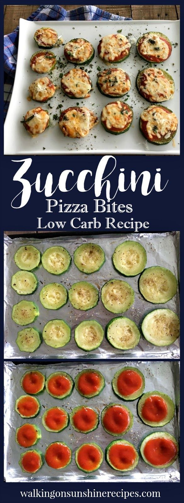 Low Carb Recipe for Zucchini Pizza Bites | Walking on Sunshine