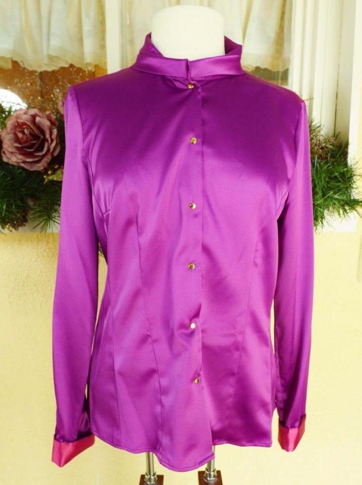 NEW T Tahari M Dress Blouse Purple/Multi Satin Color Block Long Sleeve Snaps #TTahari #Blouse #CareerOccasion