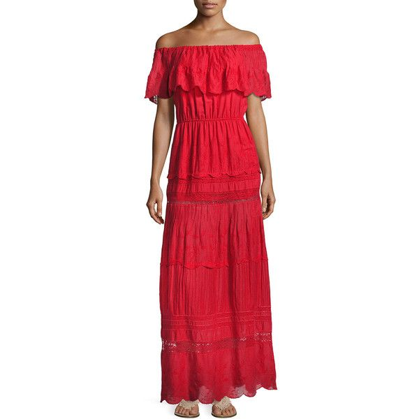 Alice + Olivia Pansy Embroidered Off-the-Shoulder Boho Maxi Dress ($465) ❤ liked on Polyvore featuring dresses, bright red, women's apparel jackets, a line maxi skirt, long maxi dresses, long maxi skirts, bohemian maxi skirt and long a line skirt