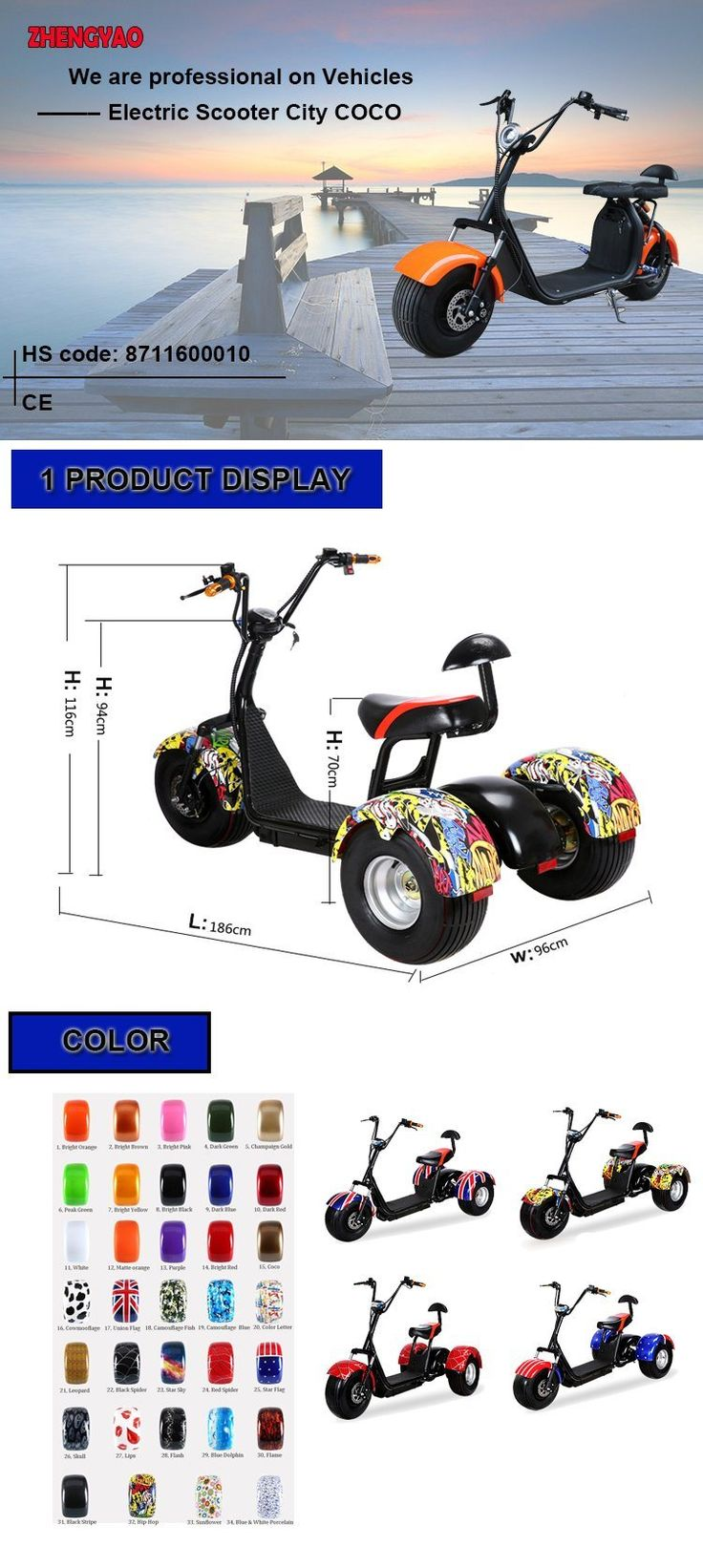 1000W60V Front Back Suspension New Citycoco Harlley Three Wheel Electric Scooter/Cheap Electric Trike /E-Bicycle - China Citycoco, Fat Wheel Electric Scooter | Made-in-China.com Mobile
