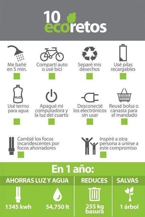 10 retos con los que conseguiremos ahorrar en el consumo de agua y luz, reducir la basura y salvar árboles. Os apuntáis?