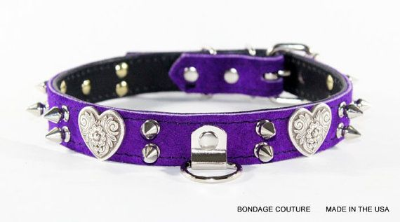 Bondage Heart Leather Collar 1 Purple Suede Embossed