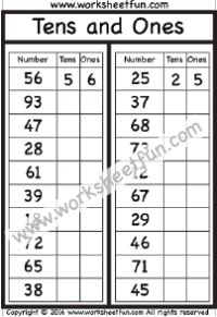 Tens and Ones  – One Worksheet