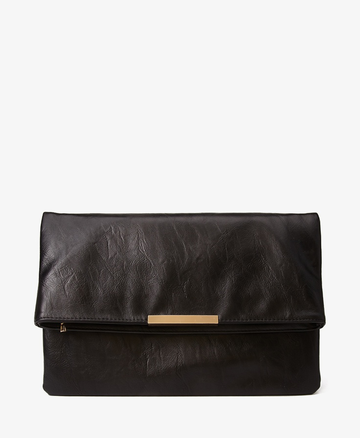 Fold-Over Faux Leather Clutch