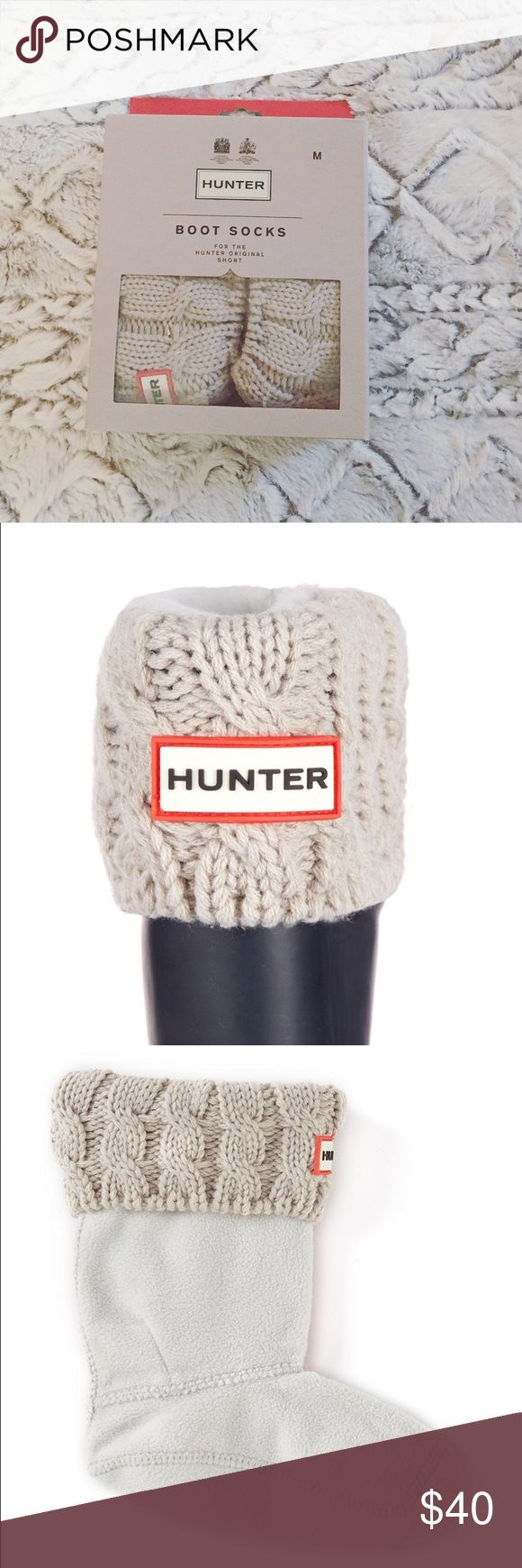 Hunter Boot Socks New without tags. Cable knit boot socks for Hunter Original Short. Size medium (5-7). Color is Greige. Never had the chance to wear these so my loss is your gain! No trades, price is firm. Hunter Boots Shoes Winter & Rain Boots