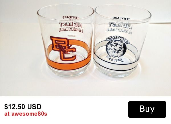 Vintage 1980s Boston College Eagles and Connecticut Huskies Big East Conference Getty Promotional Glasses Tumblers Set o