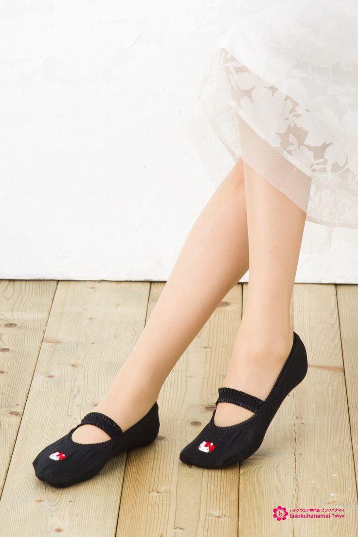 Hello Kitty foot cover  キティ刺繍入り縫製 フットカバー ベルト付き