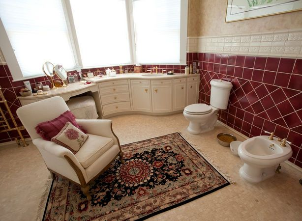 Home Staging Fail... toilet, dog bowl, badie and a chair