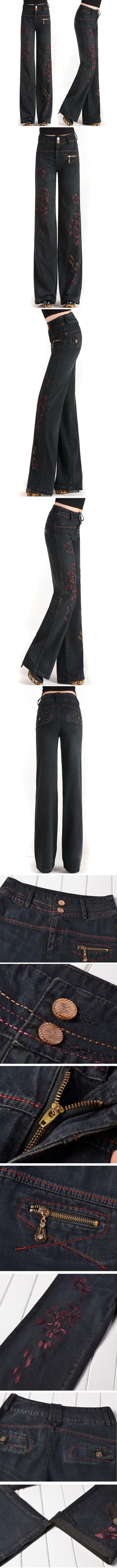 Aliexpress.com: Comprar Mujeres bordado jeans cintura alta denim vaqueros de pierna ancha pantalones femeninos vaqueros rectos flojos femeninos pantalones anchos pantalones vaqueros tamaño 27 33 de holgados pantalones vaqueros confiables proveedores de Diana Fang's store.