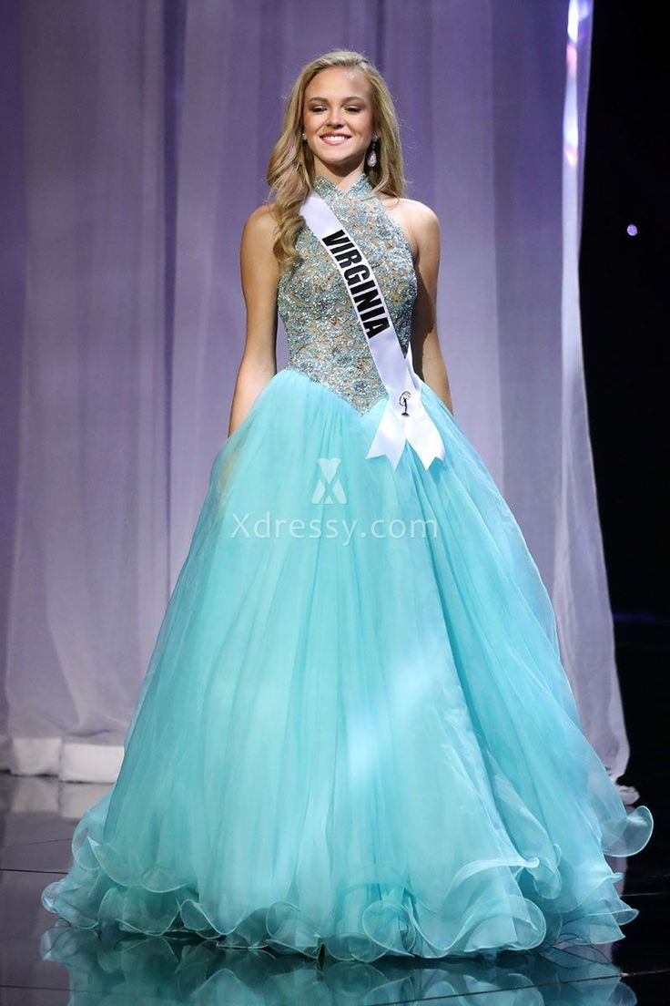Gracyn Blackmore Sky Blue Organza Timeless Pageant Prom Dress Miss Teen USA 2016
