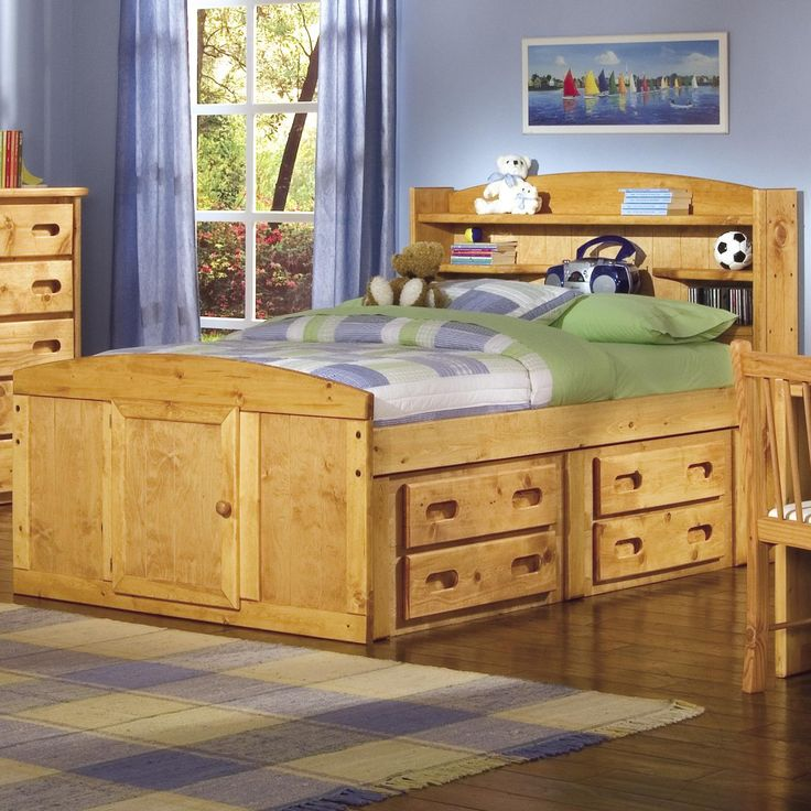 Trendwood Twin Captains Bed With Bookcase Headboard