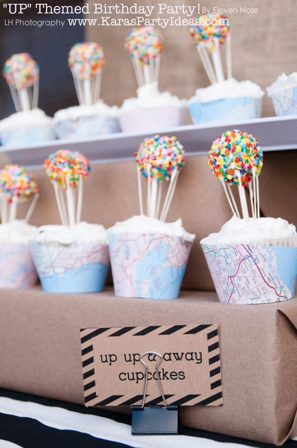 Balloon / UP themed cupcakes via Kara's Party Ideas (could print out map paper for cupcake liners? And sprinkle covered cake balls!)