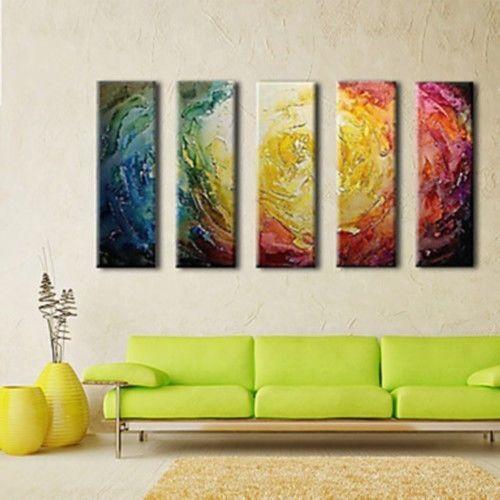 Pintura-Al-oleo-Abstracto-Arte-De-Pared-5p-Decoracion-del-Hogar-Pintados-A-Mano-De-Lona-N-Enmarcado