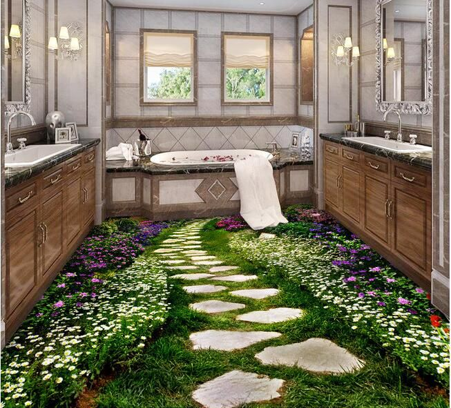 3 d pvc flooring custom  wall paper 3d bathroom bedroom flooring creative flowers path mural wallpaperfor walls 3d