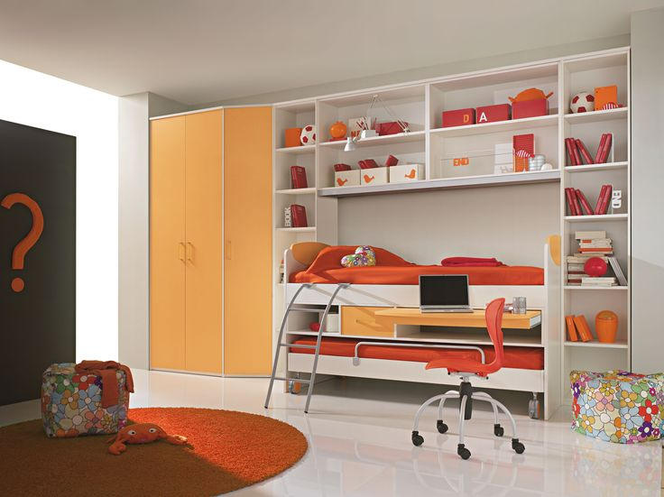 extraordinary design ideas cool bunk bed. Bedroom Beautiful Style For Teenage Girls  White Wooden Bunk Bed With Orange Mattress And Wall Cabinet Shelves Wardrobe Door 13 best Design Camera Copilului images on Pinterest Child room