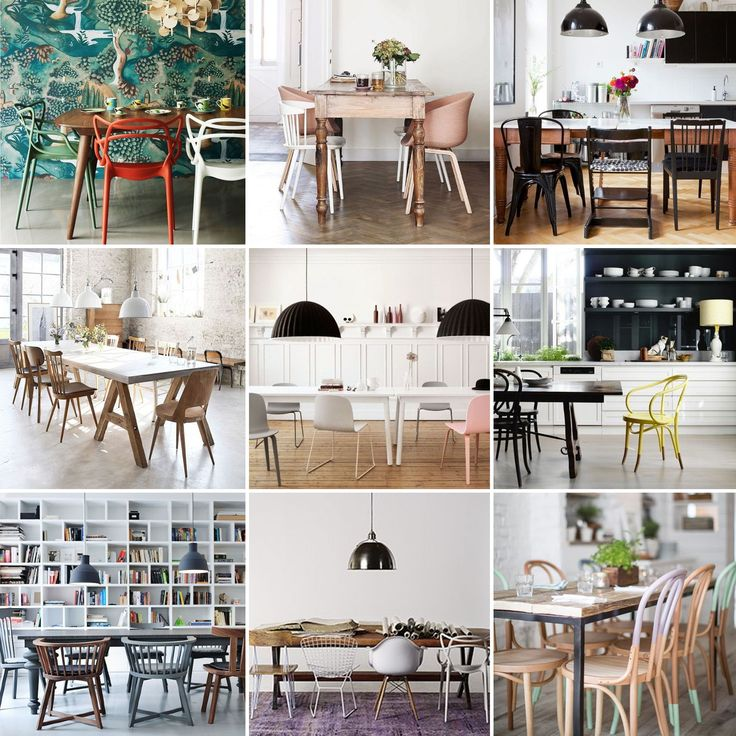 inspiration chaises mix and match - mix and match chairs - mismatched dining chairs - www.pierrepapierciseaux.be