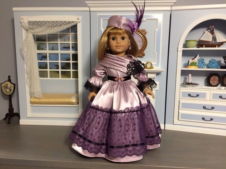 """VICTORIAN PURPLE DRESS & ACCESSORIES FOR 18"""" AMERICAN GIRL DOLL, MARIE-GRACE #SataHaykushDesigns #ClothingShoes"""