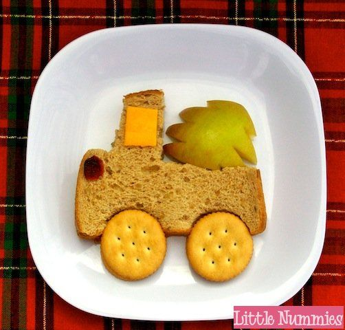 Fun Food: Kids Holiday Lunch: Oh Christmas Tree Sandwich - take the tree off the back and just have a truck sandwich :)