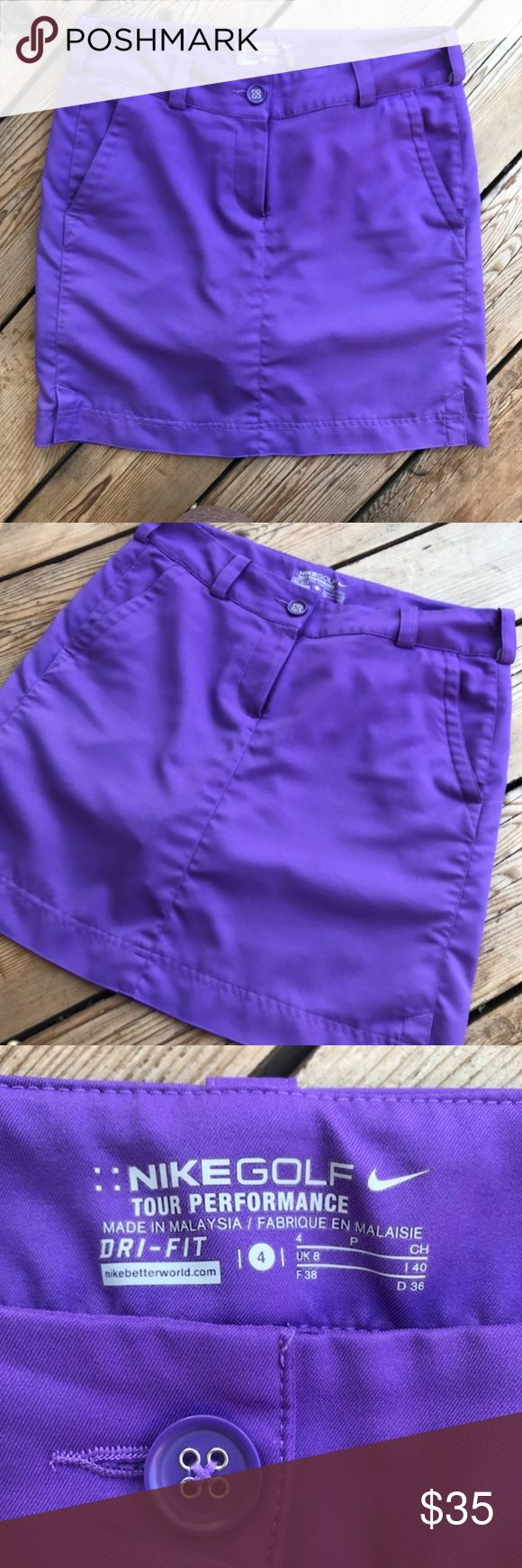 "Nike Dri-Fit Golf Skirt--Purple--Size 4 Nike dri-fit golf skirt with sewn-in shorts. Skirt is 17"" long and the waist is 15"" across. Short inseam is 3 1/2"". Front and back pockets on either side, perfect to hold tees or a pencil. Skirt is in excellent and lightly-worn condition. Shows no signs of wear. Nike Shorts Skorts"