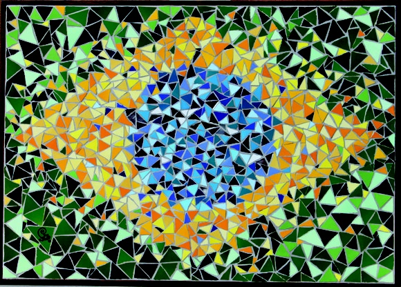 Painel com a Bandeira do Brasil estilizada, nas medidas 70 x 50cm. Feita de azulejos coloridos e espelho aplicados em compensado, moldura em madeira . R$450,00