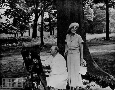 Sir Winston Churchill and Lady Churchill at Chartwell in Kent...England  Collage of Life