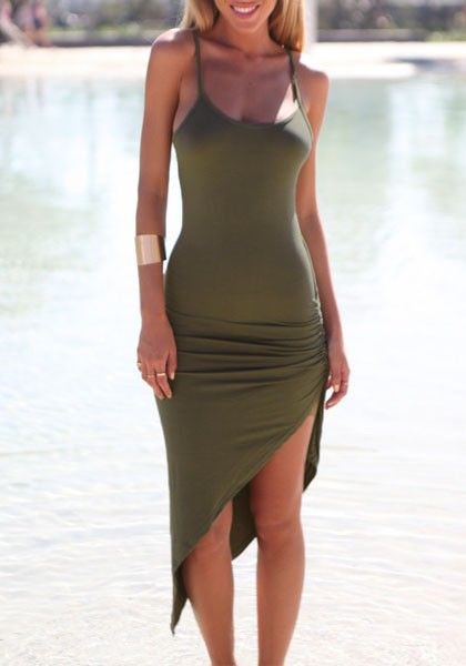 Olive Green Asymmetric Dress
