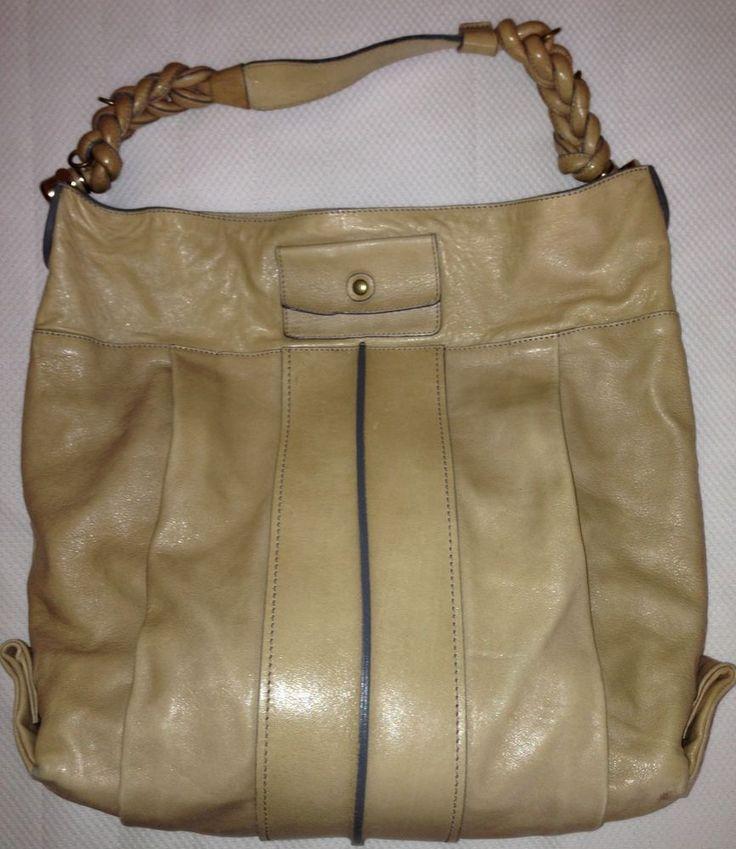 Auth CHLOE Heloise Lambskin Leather Hobo Tan Brown Shoulder Bag ...