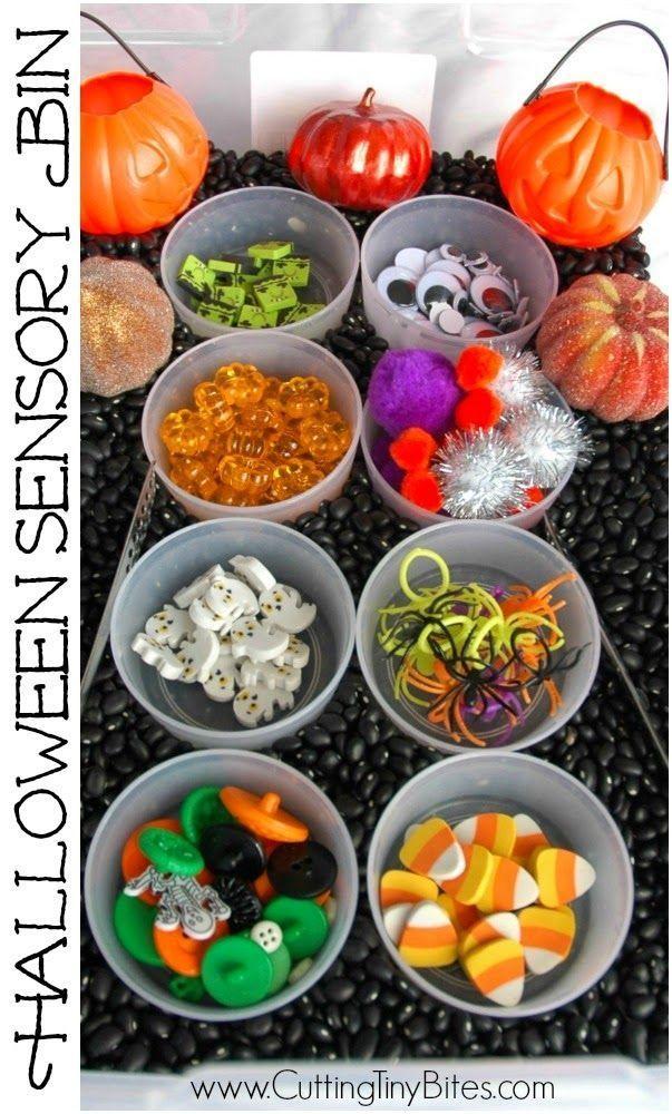 Halloween sensory bin.  Full of goodies, great for toddlers, preschoolers, or elementary children!