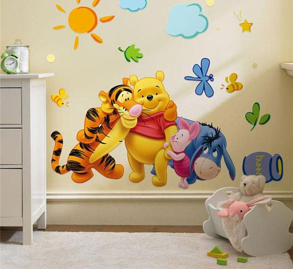 Wall Sticker Decal Winnie The Pooh And Friends Children Bedroom Daycare Home Decor Diy Removabl Nursery Room Wall Decals Nursery Stickers Nursery Wall Stickers
