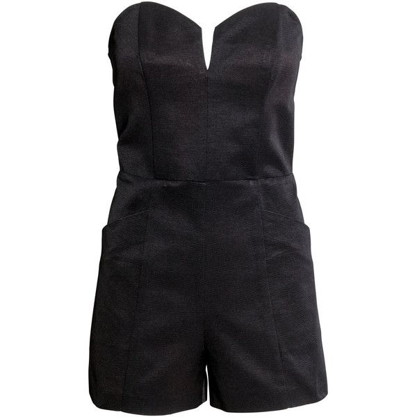 H&M Strapless playsuit (120 RON) ❤ liked on Polyvore featuring jumpsuits, rompers, romper, black, playsuits, jumpsuit, sexy, jumpsuits & rompers, sexy black rompers and sexy short rompers