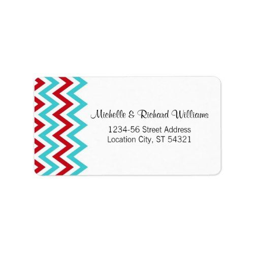 Modern Red and Aqua Chevron & Lovebirds Wedding Label