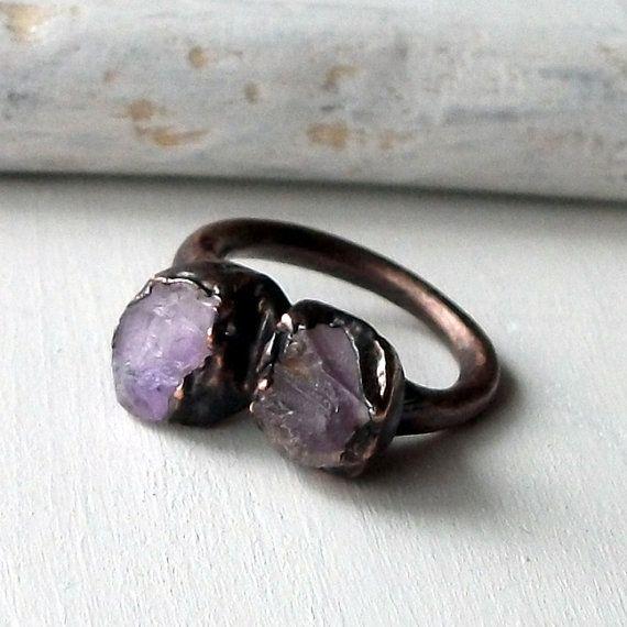 Copper Ring Rose de Amethyst Purple Violet Lilac Raw Gem February Birthstone Artisan Handmade -- Midwest Alchemy