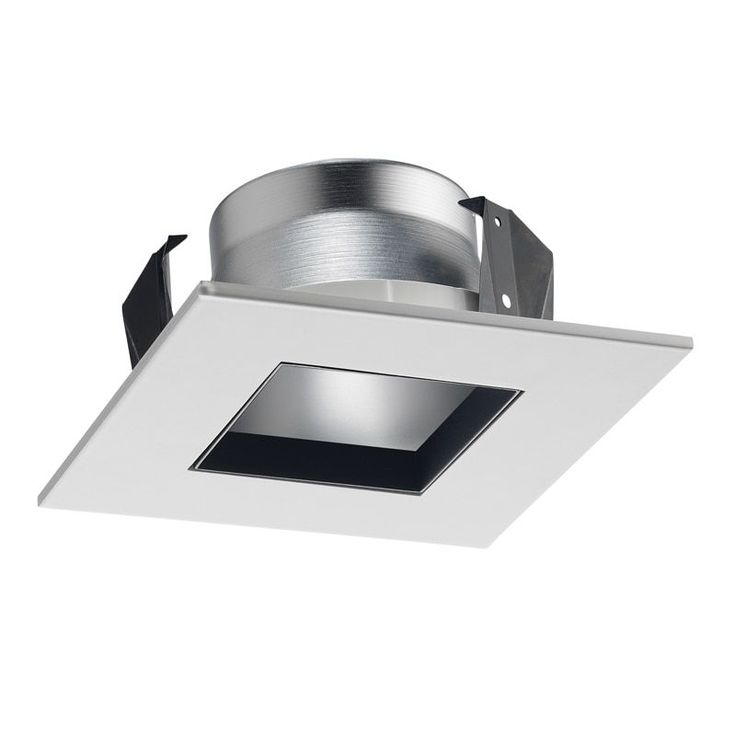 Juno Lighting 17SQ WWH 4-Inch Square Shower Recessed Trim, Frosted Glass with White Trim (White) (Metal)