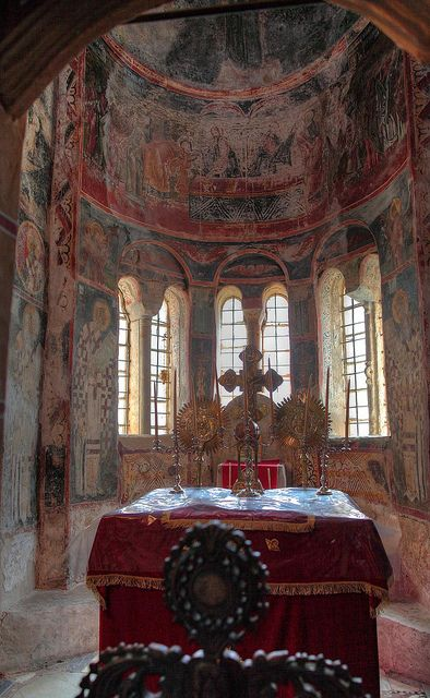 The frescoes have been exposed to weather and war but are still beautiful in the churches of the Byzantine city of Mystras in ~Greece - Laconia-Sparta  (Greece has no money to restore them)