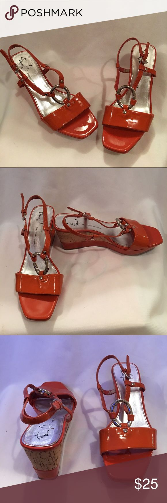 Franco Sarto orange cork wedge sandals Franco Sarto orange Patent leather cork wedge Sandals size 8 Like new condition on the outside.Some wear on the inside missing orange on inside only Franco Sarto Shoes Sandals