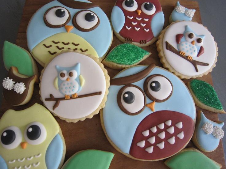 Owl Cookies - Custom Gourmet Sugar Cookies. $35.00, via Etsy.