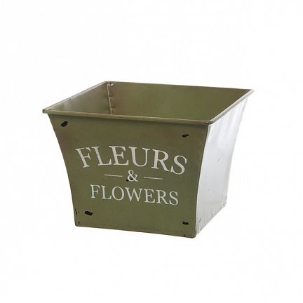 Tin Planter Jardinier Sqaure Taper 15.5x15.5x12cmH Moss Available in colour Moss, White & Blue