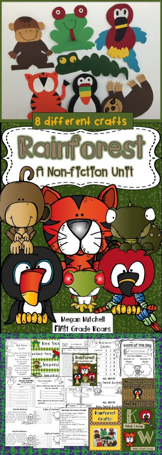 This packet will help guide your students through a rain forest adventure.  Many literature connections, writing, word work, word wall, posters, mini book, informational text and text features and 8 different crafts to make your room look wild!