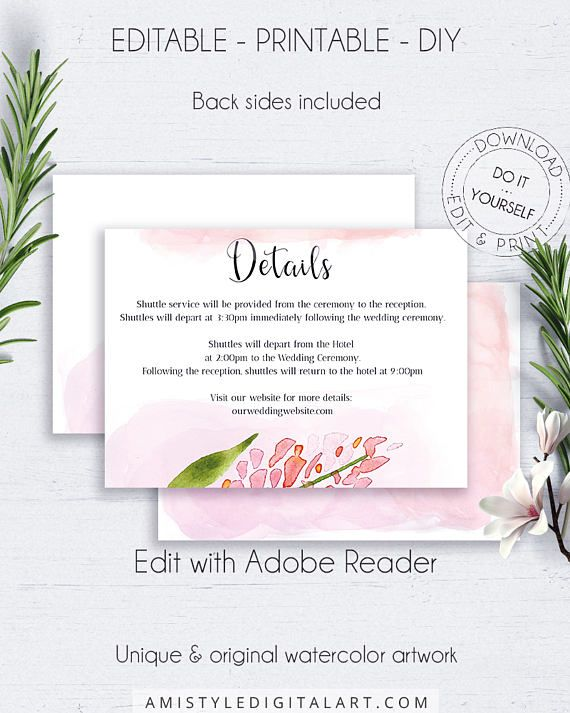 Blush Wedding Direction Card, with adorable and colorful watercolor floral graphics and background, in an elegant and modern style.This wedding directions enclosure card template is an instant download EDITABLE PDF pack so you can download it right away, DIY edit and print it at home or at your local copy shop by Amistyle Digital Art on Etsy
