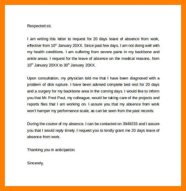11 Absent Letter From Work Time Table Chart Letter Of Absence