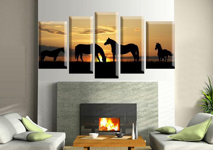 Tablouri Horses 10991 Dimensiuni: 2x 30x50 - 2x 25x60 - 1x 25x70 cm Total: 135x70 cm
