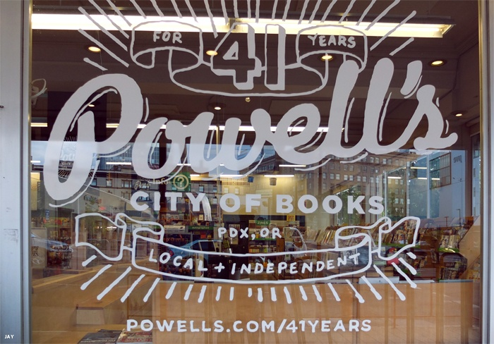 Powell's in Portland Oregon and Vroman's in Pasadena CA are my two favorite bookstores.  Those and the ones in Brattleboro Vt.  Powell's Books 41st Anniversary Window.