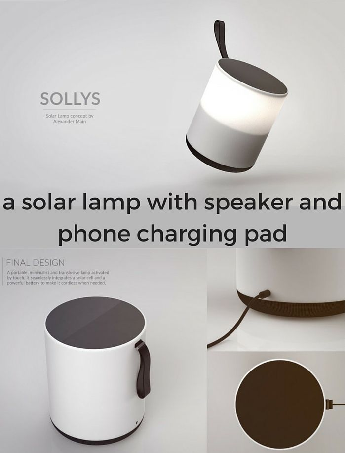 Sollys is an all-in-one solar lamp with speaker and smartphone charging pad