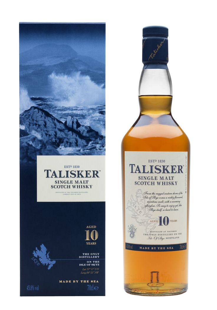 Talisker Single Malt Scotch Whisky 10 Year. An easy, smooth, ever-so-lightly peated scotch that noses agreeably and warms the palate with a muted Highland citrus. The short and likable finish encourages another sip.