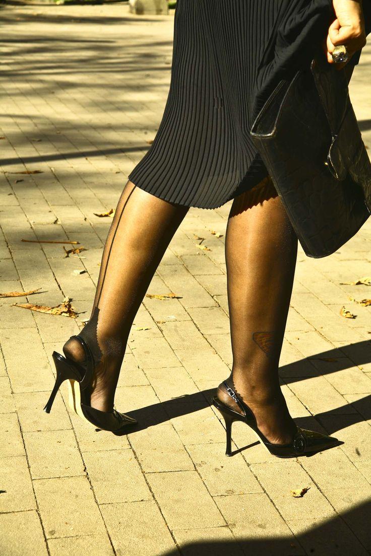 Patented Jimmy Choo Sling Backs Back Seamed Stockings
